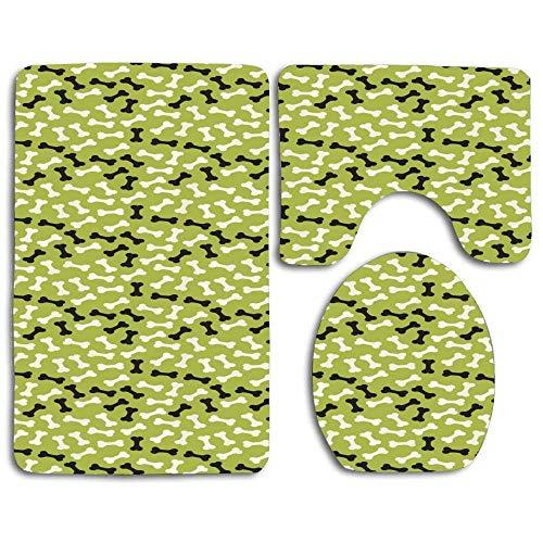 N\A Badematten-Sets Haushunderassen Ernährung Abstract Bones Contour Rug U-förmiger Toilettendeckeldeckel, rutschfest, maschinenwaschbar, 3-teiliges Teppichset Leichter zu trocknen für das Badezimmer