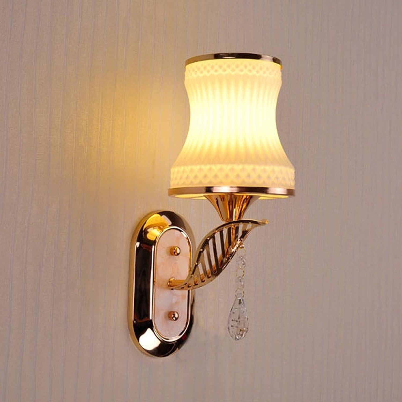 QFF Wand-Lampe Einzel-und Doppel-Kopf Nachttisch Lampe Einfache Schlafzimmer Wrme Wohnzimmer Flur Glas Korridor Treppen Lichter ( gre    1 )