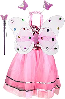 Coxeer 4 PCS Fairy Costume Set Sparkle Butterfly Costume for Girls