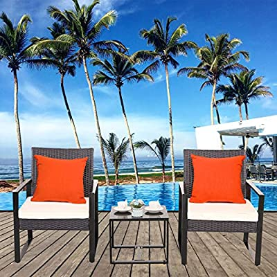 Furnimy Outdoor Furniture 3 Pieces Patio Set Patio Bistro Sets Outdoor Seating Outdoor Table and Chairs Set PE Rattan Wicker Patio Conversation Sets for Balcony Yard Garden Porch (Cream)