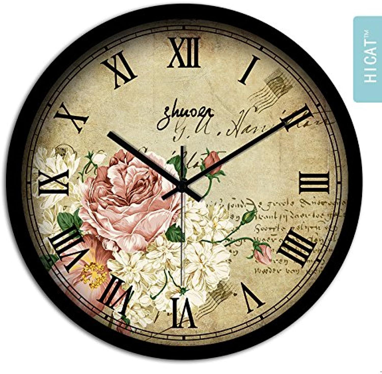 Reloj de parojo,reloj de parojo adhesivo,reloj de parojo grande,reloj de parojo vintage.Mediterráneo europeo país rústico retro salón reloj de parojo creativo simple decorativo mute cuarzo reloj