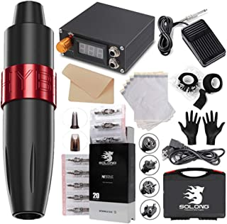 Tattoo Machine Kit with Tattoo Power, Professional Tattoo Pen with Pedal Transfer Paper And Practice Skin & 20Pcs Tattoos ...