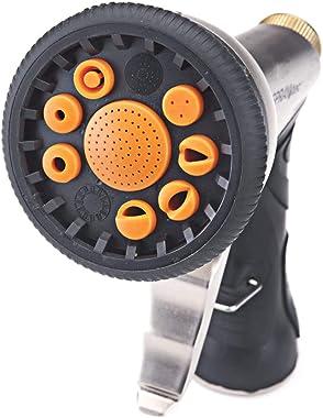 SprayTec Garden Hose Nozzle Sprayer – Heavy Duty Metal Spray Gun w/ Pistol Grip Trigger. 9 Adjustable Patterns Best For Hand