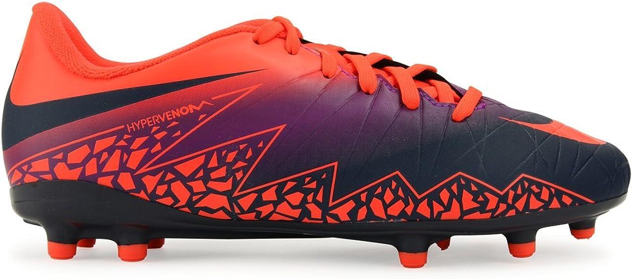Nike Kids Hypervenom Phelon II FG Total Crimson/Obsidian/Vivid Purple Soccer Shoes