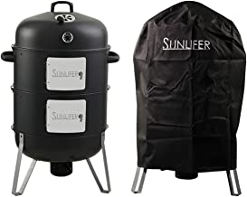 SUNLIFER Vertical Charcoal Smoker and Grill Combo, Heavy-Duty BBQ Smokers for Outdoor Cooking Camping 20.5 Inch