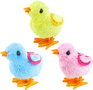 Amosfun Wind up Chicken Toys Plush Easter Chicks Toys Party Favors Gift for Kids 3pcs (Random Color)