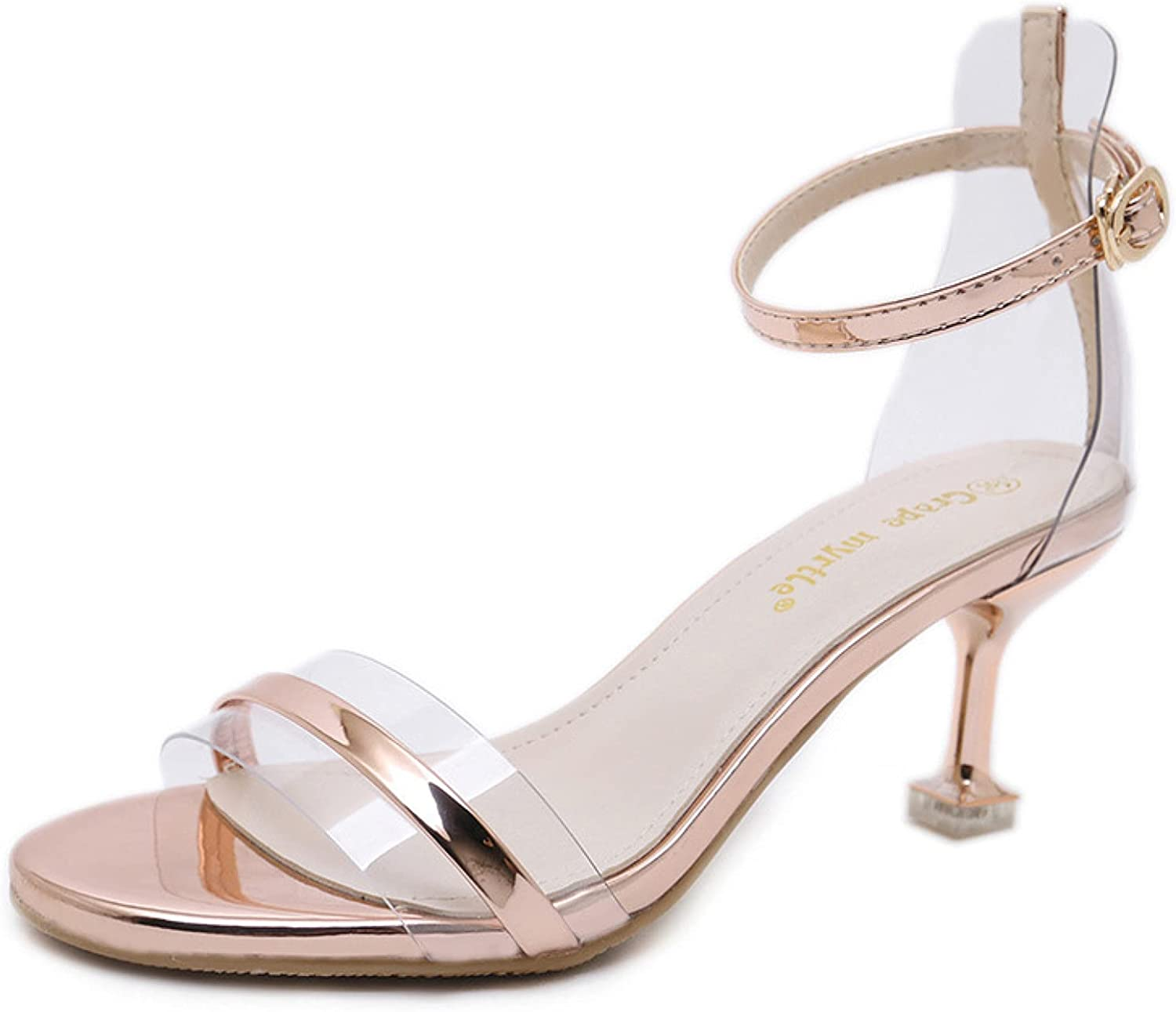 Women's Ranking TOP17 Comfortable Open Toe Spring new work one after another Ankle Kitten Hi Strap Heeled Buckle