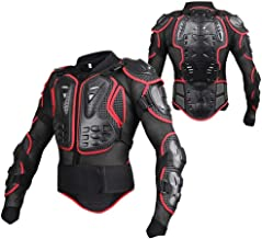 Motorcycle Full Body Armor Protector Pro Street Motocross ATV Guard Shirt Jacket with Back Protection Black & Red 2XL