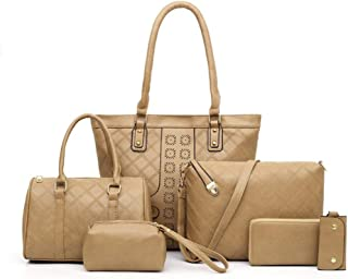 Solid Color 6 Piece Set Handbag Versatile Multi Piece Set (Color : Khaki)
