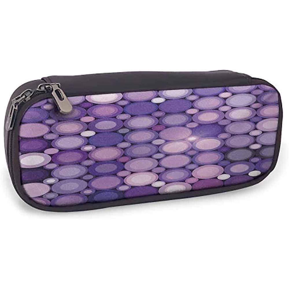 Estuche moderno Uso diario Geométrico Círculos violetas Disco redondo Diseño inspirado Obra de arte Púrpura Lila y rosa bebé: Amazon.es: Oficina y papelería