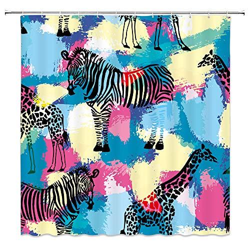 qianliansheji Farbenfroher Zebra Duschvorhang mehrere Zebra schwarz & weiß Giraffe Badezimmer Duschvorhang dekorativer Hintergr& Tuch 178 × 178 cm (Multi 1269)