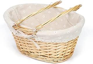 MEIEM Wicker Basket Gift Baskets Empty Oval Willow Woven Picnic Basket Cheap Easter Candy Basket Large Storage Basket Wine Basket with Handle Egg Gathering Wedding Basket (Natural)