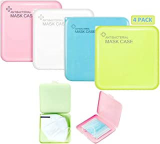 4 Pack Mask Storage Box Portable Mask Case Hygiene Storage Bag Masks Organizer for Recyclable Face Mask Holder Container Keeper