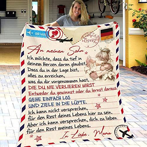 XXXZZL An Meine Sohn Von Mama Decke, Weihnachten Mikrofaser Warme Decke Personalisierte Thanksgiving-Decke, Ideal Für Geburtstag Weihnachten, 150 * 220