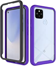 Google Pixel 4A 5G Case, EabHulie Dual Layer Transparent Back Rugged Bumper No Slip Shockproof Full Body Protective Case C...