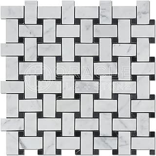 Carrara White Italian (Bianco Carrara) Marble Basketweave Mosaic Tile with Black Marble Dots, Polished