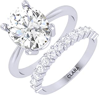 Clara 92.5 Sterling Silver Oval Solitaire Ring with Band Gift for Women & Girls