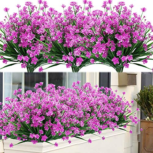 ArtBloom 8 Bundles Outdoor Artificial Fake Flowers UV Resistant Shrubs Plants, Faux Plastic Greenery for Indoor Outside Hanging Plants Garden Porch Window Box Home Wedding Farmhouse Decor (Fuchsia)
