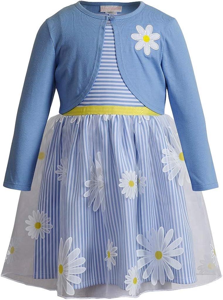 Youngland Girl's Dress - Blue Daisy Dress with Cardigan Shrug