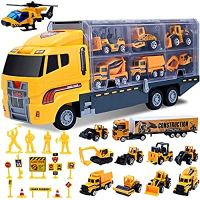 Car Toddler Toys for Boys,Trucks 25 in 1 Engineering Die-cast Construction Cars Toy Set Play Vehicle in Carrier Truck Gifts Cars Toddlers Toys for Age 3 4 5 6 7 Year Old Boy Kids by ALOTJOY