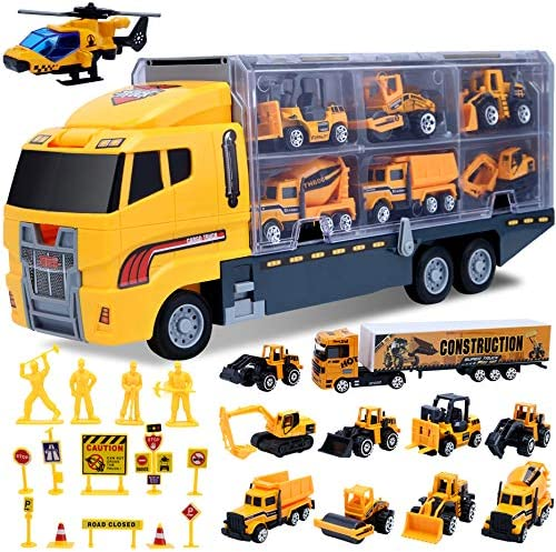 Car Toddler Toys for Boys Trucks 25 in 1 Engineering Die cast Construction Cars Toy Set Play product image