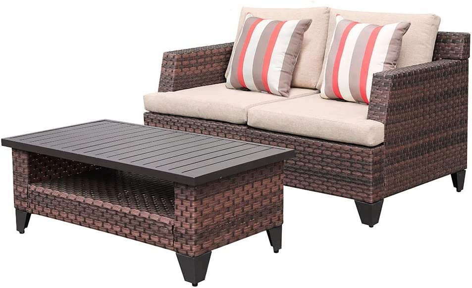 SUNSITT 3-Piece Wicker Outdoor Loveseat and Coffee Table Patio Conversation Set with Sofa Cover & Beige Cushions, Brown