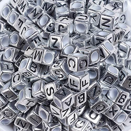 Craftdady 295 cuentas de acrílico con letras de cubo de plata antigua, color...