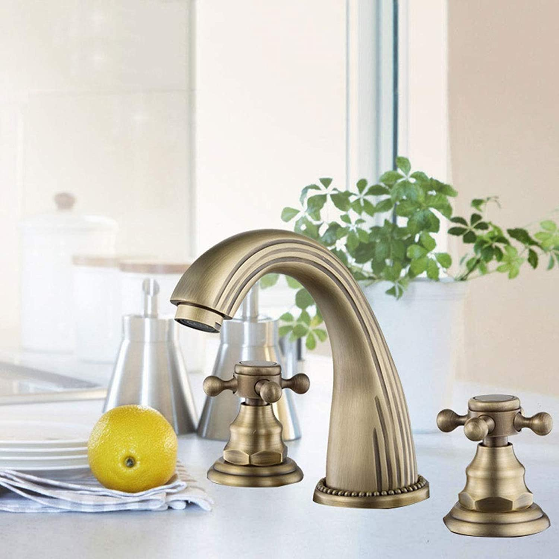 A-Lnice Two Handles 3 Holes Widespread Bathroom Sink Faucet Antique Brass Basin Mixer Tap Faucet