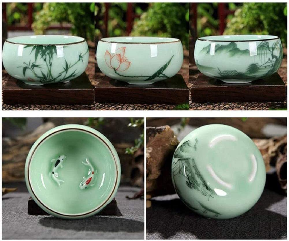 Hotumn Indefinitely Celadon Teacup lowest price Porcelain Fishes Chinese kungfu and