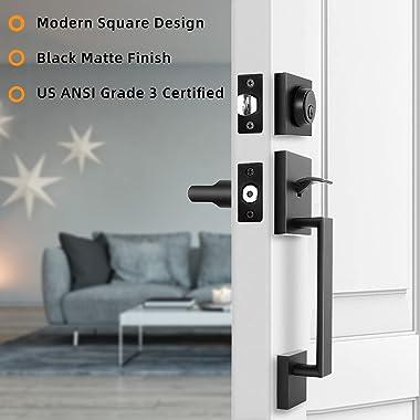 Front Door Handle, Ohuhu Front Door Lock Set, Black Door Handles, Door Locks with Keys, Handleset with Door Lever, Single Cyl