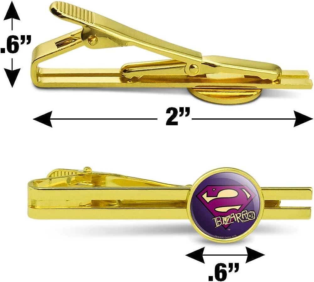 GRAPHICS & MORE Superman Bizarro Shield Logo Round Tie Bar Clip Clasp Tack Gold Color Plated
