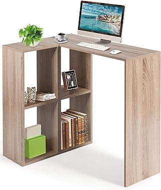 COSTWAY Scrivania Libreria Angolare Tavolo PC per Computer con 4 Scomparti, per Studio Ufficio, Legno