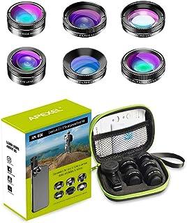 Apexel - Kit de Lente de cámara 6 en 1 para teléfono móvil Lente de Gran Angular + Lente Macro + Lente Ojo de pez + Filtro ND + CPL/Star Filter para iPhone 8/X 7/Plus Samsung S8 Android