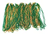 72 Necklace 33 inch 07mm Metallic Green and Gold Colors Mardi Gras Beads Beaded Necklace