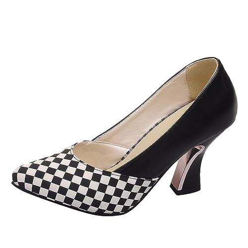 bdf71c6ba178 Carol Shoes Women s Concise Tartan Design High Heel Pointed Toe Court Shoes