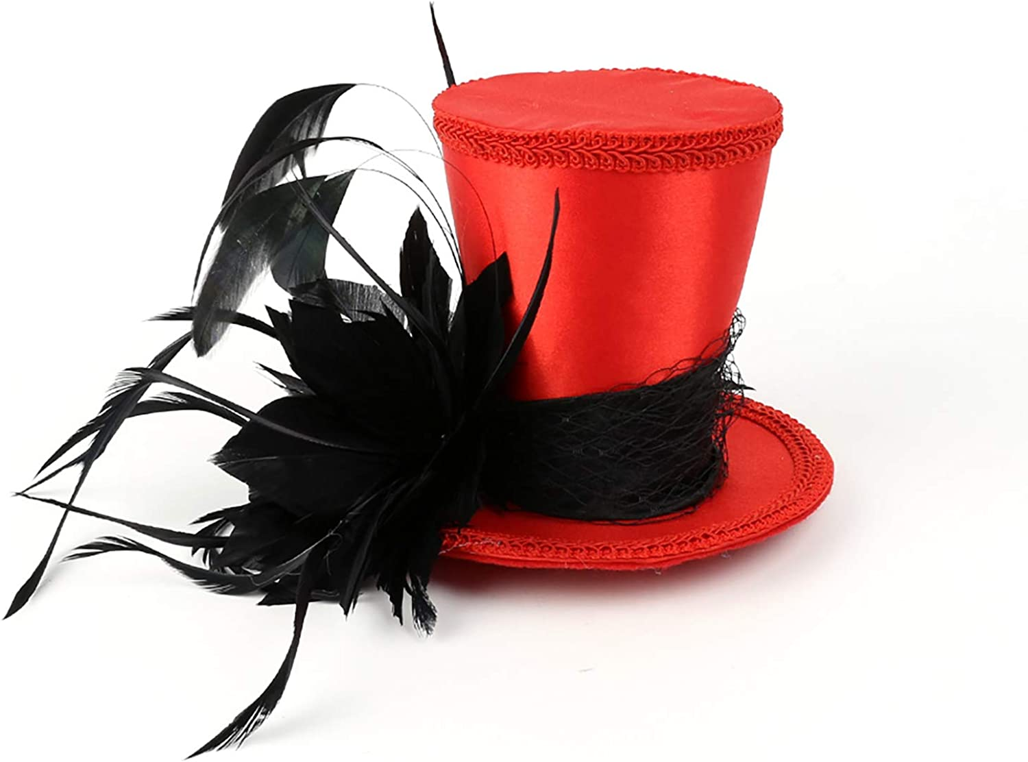 Mini Top Hat Feather Fascinator Cocktail (Red Hat with Black Leather)