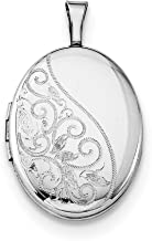 925 Sterling Silver Swirls 19mm Oval Photo Pendant Charm Locket Chain Necklace That Holds Pictures Fine Jewelry Gifts For Women For Her