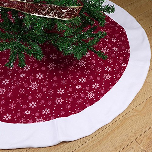 Aytai Non-woven Christmas Tree Skirt 48 inches, Traditional Red and White Snowflakes Tree Skirt for Christmas Decorations