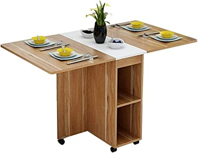 Convenient Easy to Clean Kitchen Dining Room Furniture Multifunctional Folding Dining Table and Chair Combination Small Apartment Retractable Household Dining Table Modern Design (Color : Brown, Size