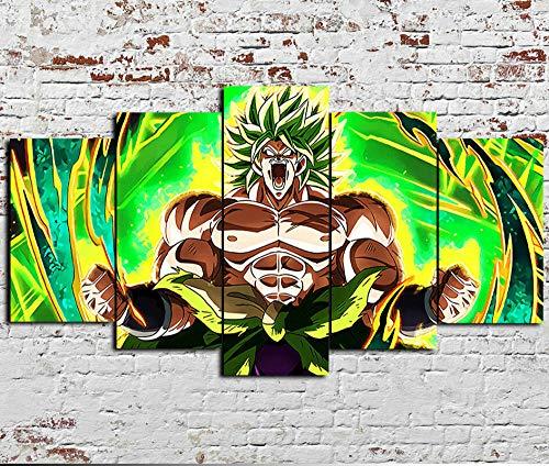 5 piezas de lienzo de arte de pared,Película Super Broly Anime,Cuadro geométrico Abstracto,HD Imagen Impresiones En Lienzo,decoración de Dormitorio,en un Marco