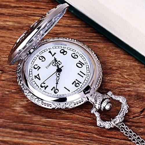 MingXinJia Home Nachttische Vintage Taschenuhr, Taschenuhr Mode Kette Halskette Spiegel Silber Taschenuhr Herrenuhr