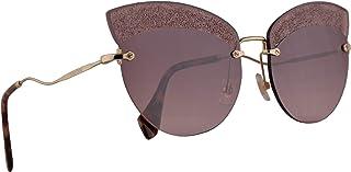 Miu Miu MU58TS Sunglasses Pale Gold w/Pink Gradient Pink Mirror Silver 65mm Lens W3Q149 MU 58TS SMU 58TS SMU58T