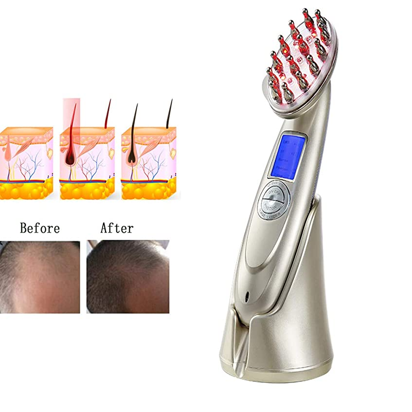 夕暮れ同様に迷彩プロの電気髪の成長レーザー櫛 RF EMS LED 光子光療法ブラシ抗脱毛治療マッサージの健康胚ブラシをアップグレードします。
