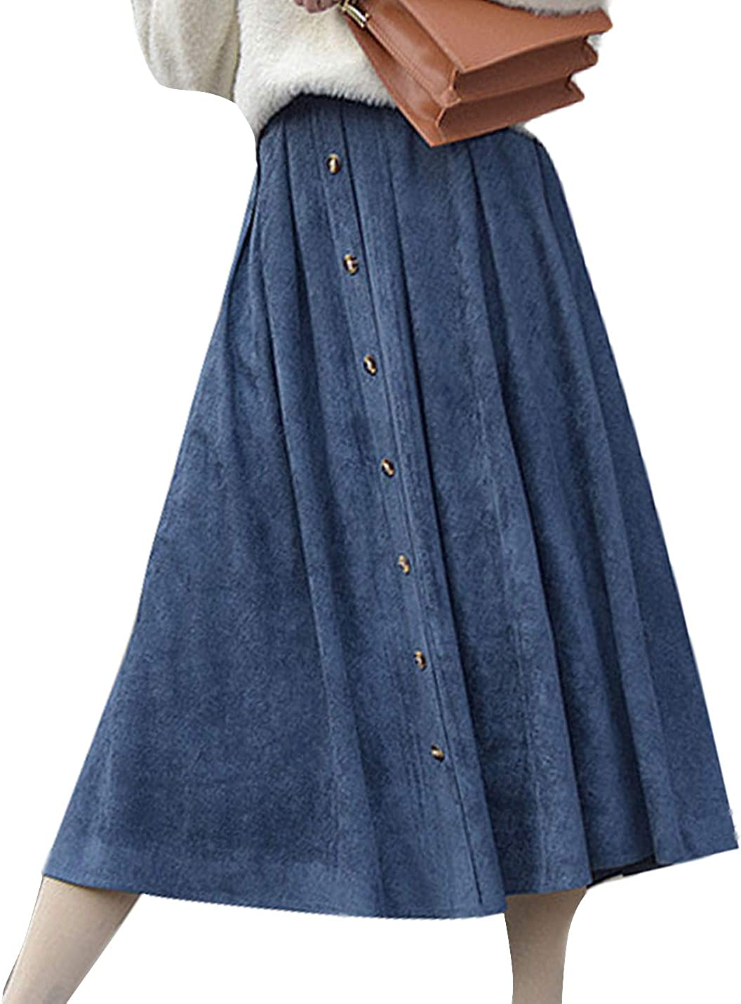 Yimoon Women's Casual Vintage Button Front Faux Suede A Line Midi Skirts