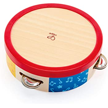 Hape Tap-Along Tambourine | Wooden Tambourine Drum for Kids, Musical Instrument for Children 12 Months and Up