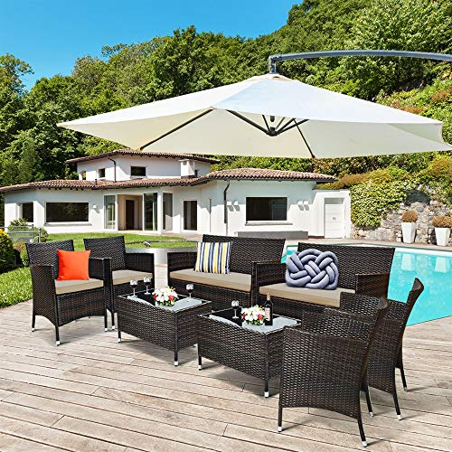 LULUTING CQS Costeway 8pcs Patio Furniture Set Cushion Sofá Tabla de Centro 2 * HW63214