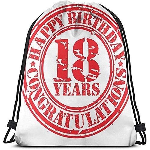 BOUIA Trekkoord Rugzak Sport Gym Cinch Tas, Vintage Gelukkige Verjaardag En Zoete Achttien Stempel Icon Retro Afbeelding Print