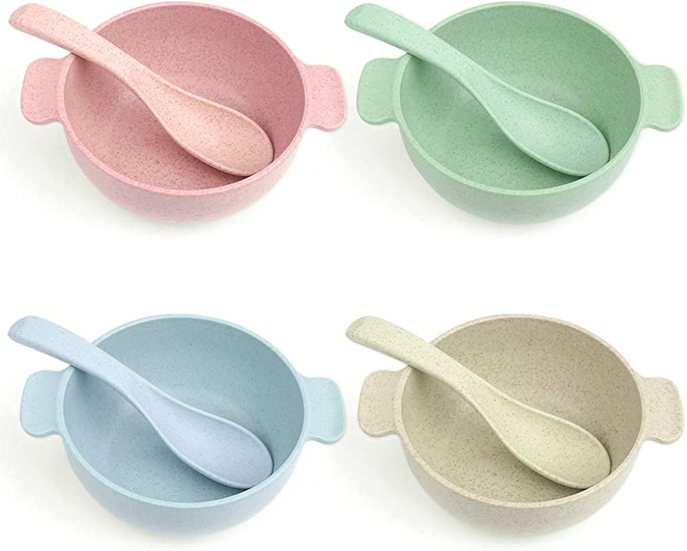 Carperipher Kids Bowls Unbreakable Toddler Bowls For Baby Feeding Wheat Straw Snack Bowl Tableware Dishwasher Safe BPA Free Eco Friendly 4 Bowls 4 Spoons Bones 4 Assorted Colors