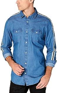 INC Mens Denim Striped Button-Down Shirt