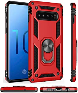 HINIDESPE phone case for Samsung Galaxy S9, 12ft. Drop Tested Protective 2 in 1 Soft TPU Rubber phone cover for galaxy S9 with rotating Ring Kickstand full body Magnetic Red